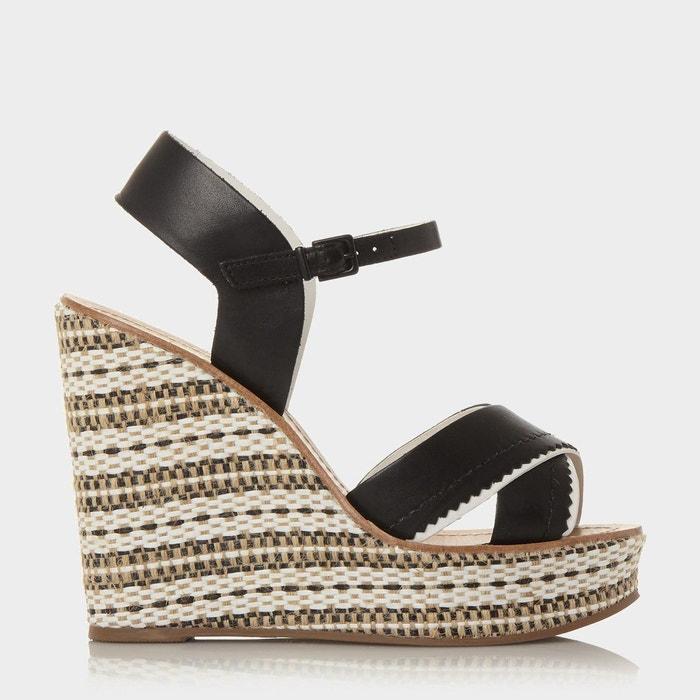 Aztec monochrome wedge sandal - khalo  noir cuir Dune London  La Redoute