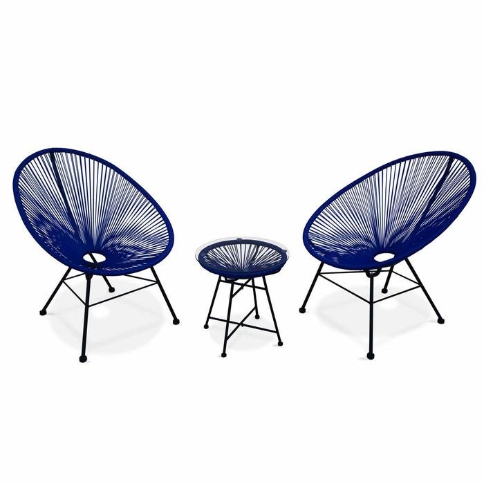 ensemble de 2 fauteuils acapulco chaise oeuf design r tro avec table d 39 appoint cordage bleu. Black Bedroom Furniture Sets. Home Design Ideas