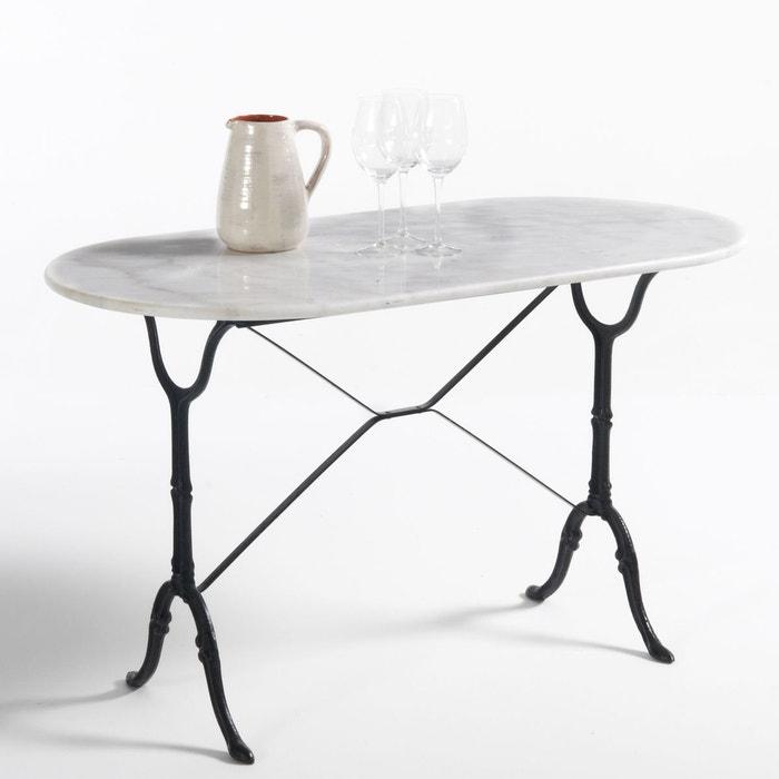 table de jardin ovale plateau marbre redville blanc la redoute interieurs la redoute. Black Bedroom Furniture Sets. Home Design Ideas