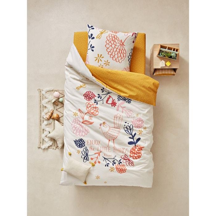 parure housse de couette taie d 39 oreiller enfant floreale rose clair imprim vertbaudet la. Black Bedroom Furniture Sets. Home Design Ideas