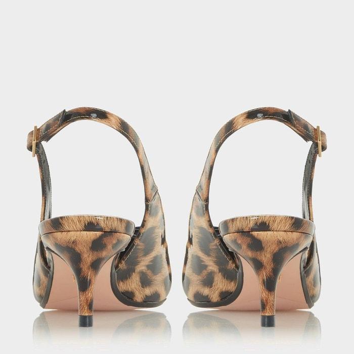 Escarpins à bride arrière, talons bobine et bout pointu - crafty léopard synthétique Dune London