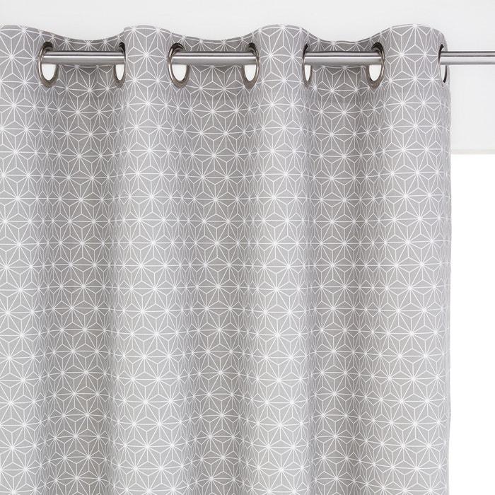 Image Rideau imprimé, pur coton, à oeillets, Lozange, La Redoute Intérieurs. La Redoute Interieurs