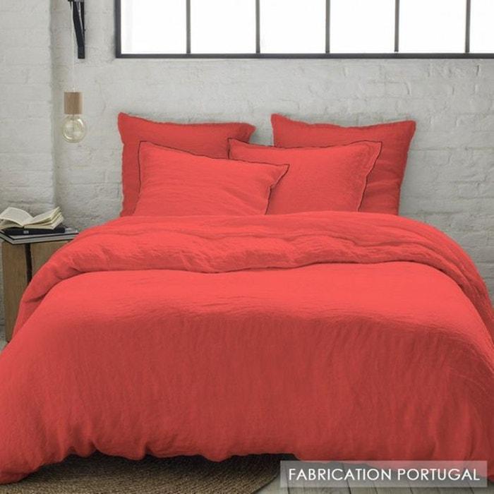 parure housse de couette lin lav corail f minin grande. Black Bedroom Furniture Sets. Home Design Ideas