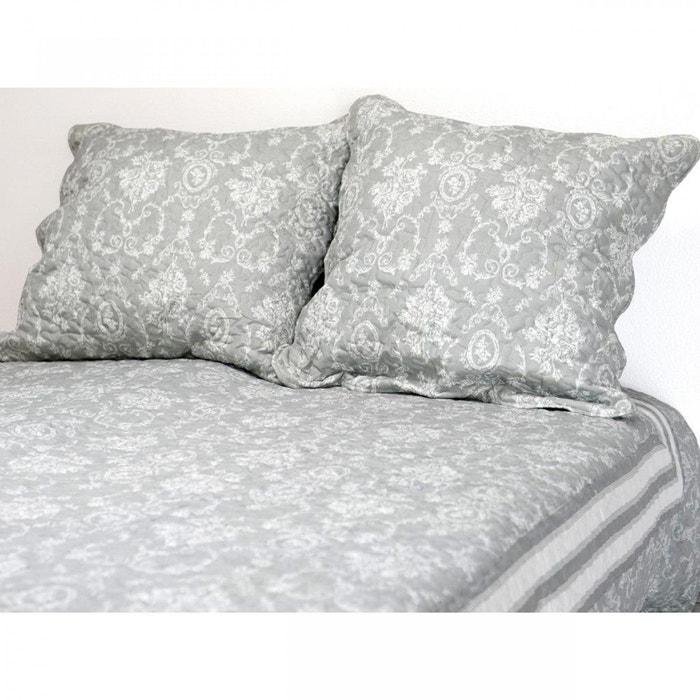 couvre lit gris et blanc 240x220 2 taies d 39 oreiller terre de nuit gris terre de nuit la redoute. Black Bedroom Furniture Sets. Home Design Ideas