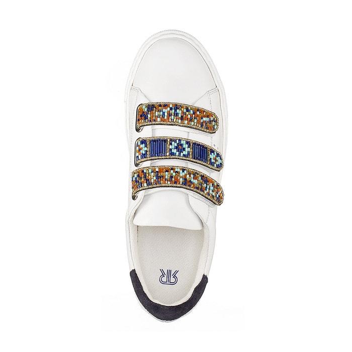 con perlas La de detalle Collections Redoute estilo Zapatillas piel wTC8q7xXT