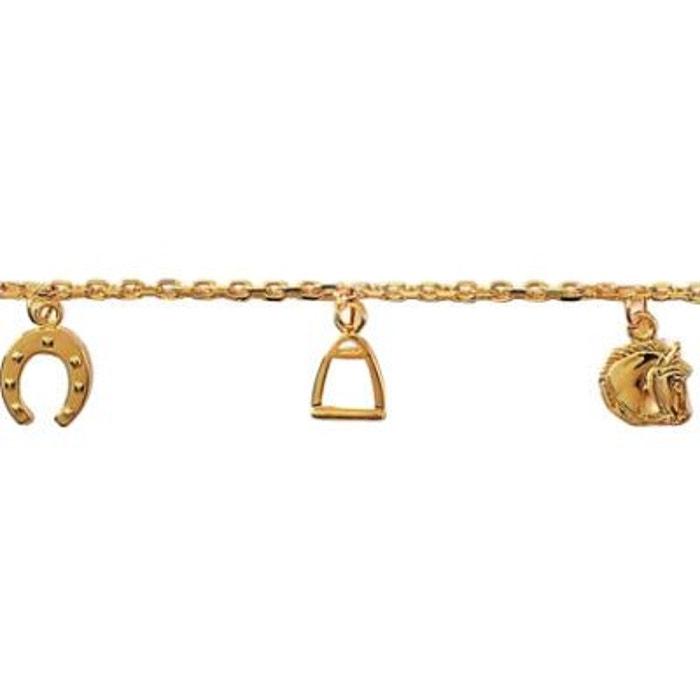Bracelet Femme Gourmette 18 cm Cheval Fer Etrier Equitation Plaqué Or 750