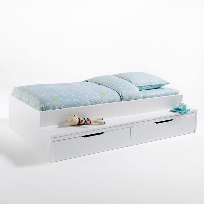 lit plateforme avec banc et tiroirs yann blanc la redoute interieurs la redoute. Black Bedroom Furniture Sets. Home Design Ideas