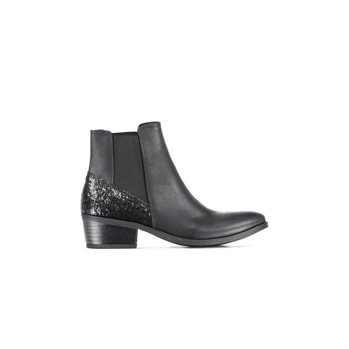 Bottines pieces psbecca leather boot glitter noir femme  noir Pieces  La Redoute