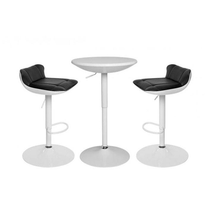 Ensemble Table Bar Et Tabouret ensemble table haute et 2 tabourets paul blanc declikdeco | la redoute