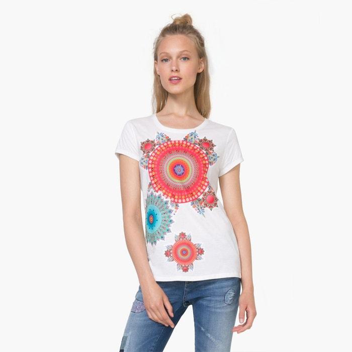 Tee shirt manches courtes motifs rosaces blanc desigual - Pas de retour de couche sans allaitement ...