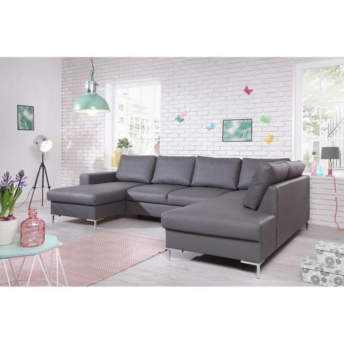 canap lilly u panoramique fixe simili cuir angle droit gris gris bobochic la redoute. Black Bedroom Furniture Sets. Home Design Ideas