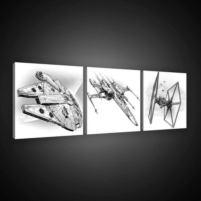 tableaux triptyque vaisseaux spatiaux star wars blanc noir walltastic la redoute. Black Bedroom Furniture Sets. Home Design Ideas