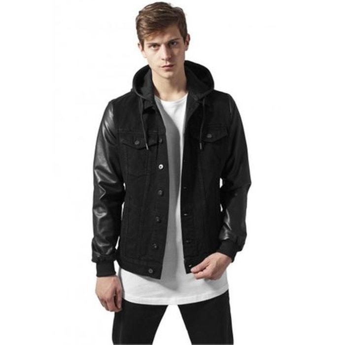 Veste denim avec capuche manches simili noir Urban Classics   La Redoute ffdb41c95145