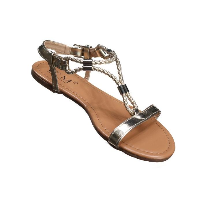 Sandales à détail métallique jaune Leader Mode