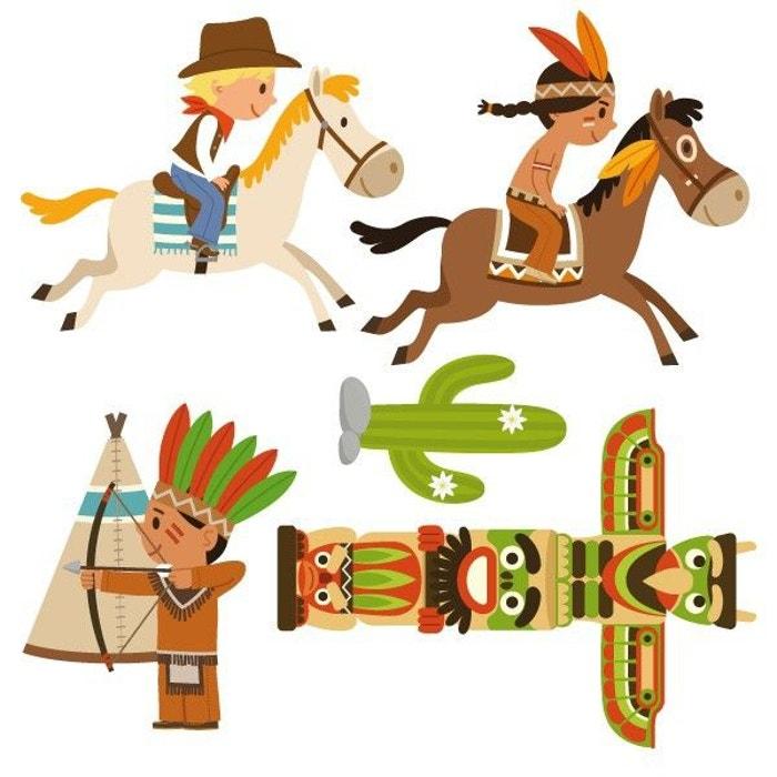 Sticker Enfant : Frise Cowboy Et Indien À Cheval Multicolore