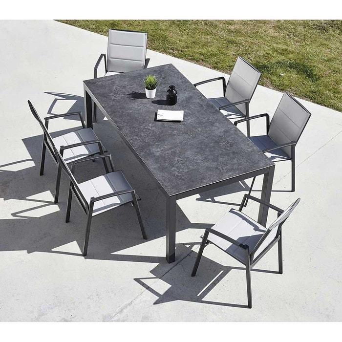 Salon de jardin céramique et aluminium anthracite Home Maison | La ...