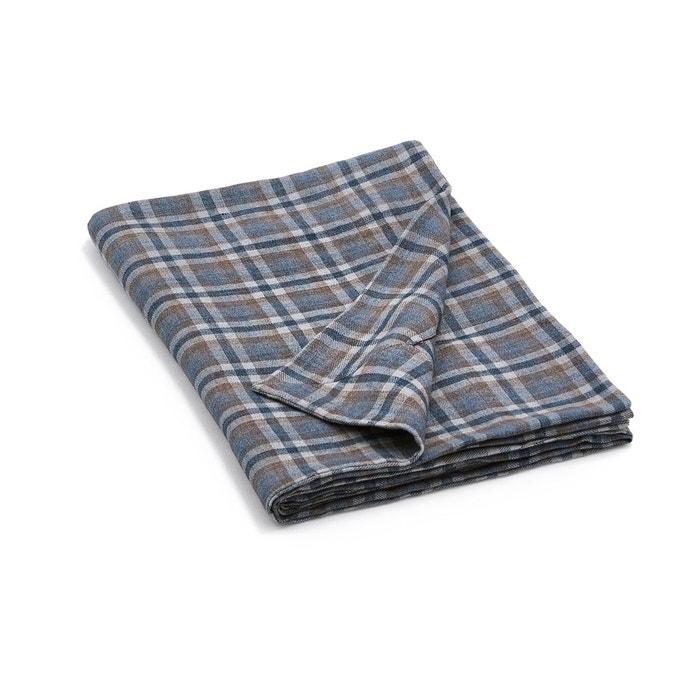jet de lit en lin carritay bleu marron am pm la redoute. Black Bedroom Furniture Sets. Home Design Ideas