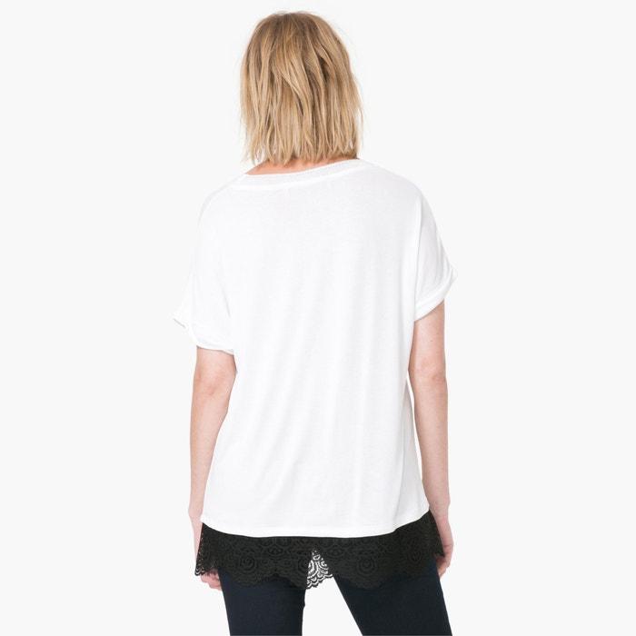 afbeelding T-shirt met korte mouwen, kant en bloemmotief DESIGUAL