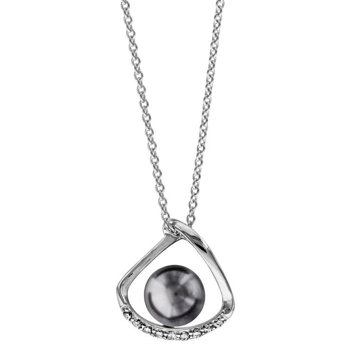 Collier longueur réglable: 40 à 44 cm perle grise oxyde de zirconium blanc argent 925 couleur unique So Chic Bijoux | La Redoute Jeu Obtenir Authentique FJamhAlH