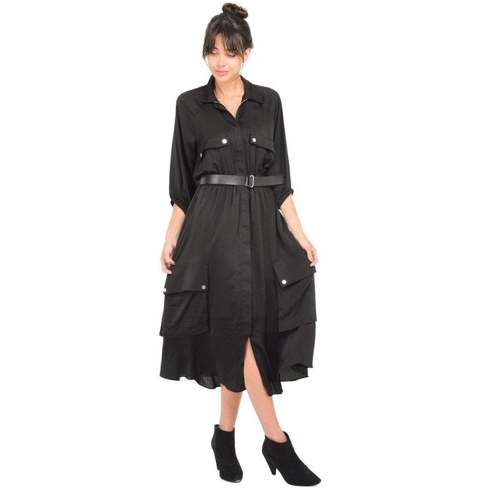 3105040814ab1 Robe longue ceinturée noir Lauren Vidal   La Redoute
