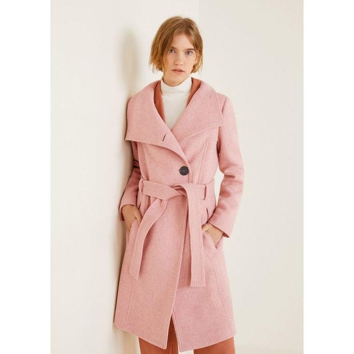 d25f17a652765 Manteau en laine avec ceinture rose Mango   La Redoute