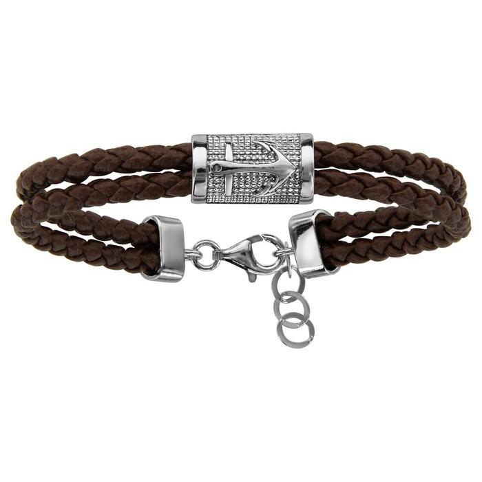 Bracelet longueur réglable: 18,5 à 20,5 cm ancre 2 rangs marron argent 925 couleur unique So Chic Bijoux | La Redoute