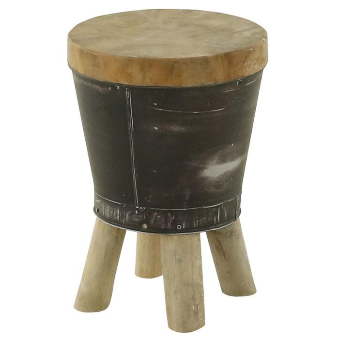 Tabouret bidon rond bois et métal foncé noldor gris Couleurs Des ...