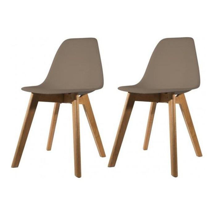 Lot de 2 chaises scandinave coque taupe fjord gris declikdeco la redoute - Chaise scandinave la redoute ...