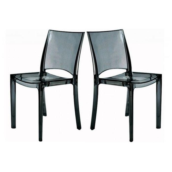 lot de 2 chaises gris transparent sommet transparent declikdeco la redoute. Black Bedroom Furniture Sets. Home Design Ideas