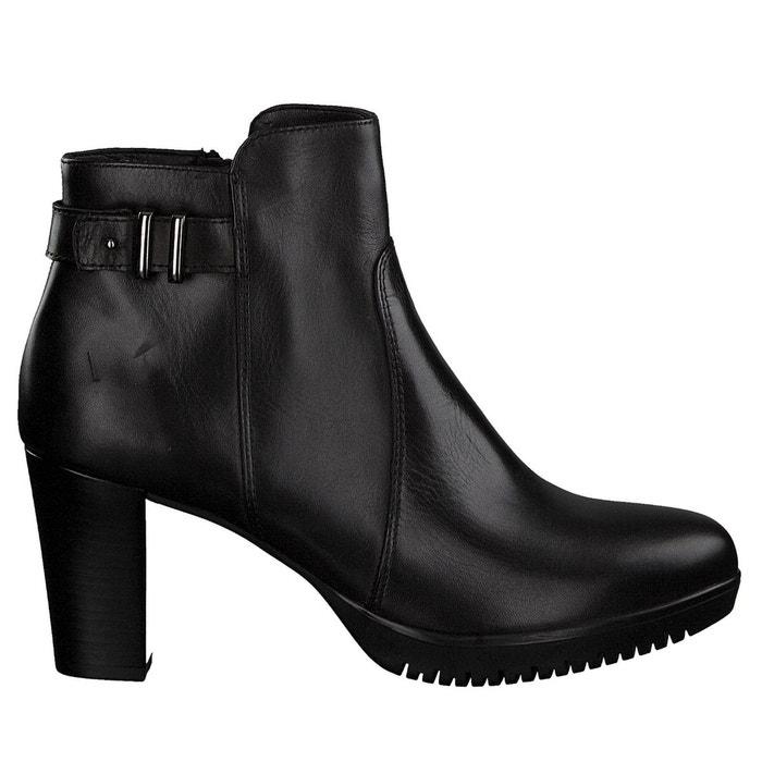 boots cuir carad noir tamaris la redoute. Black Bedroom Furniture Sets. Home Design Ideas
