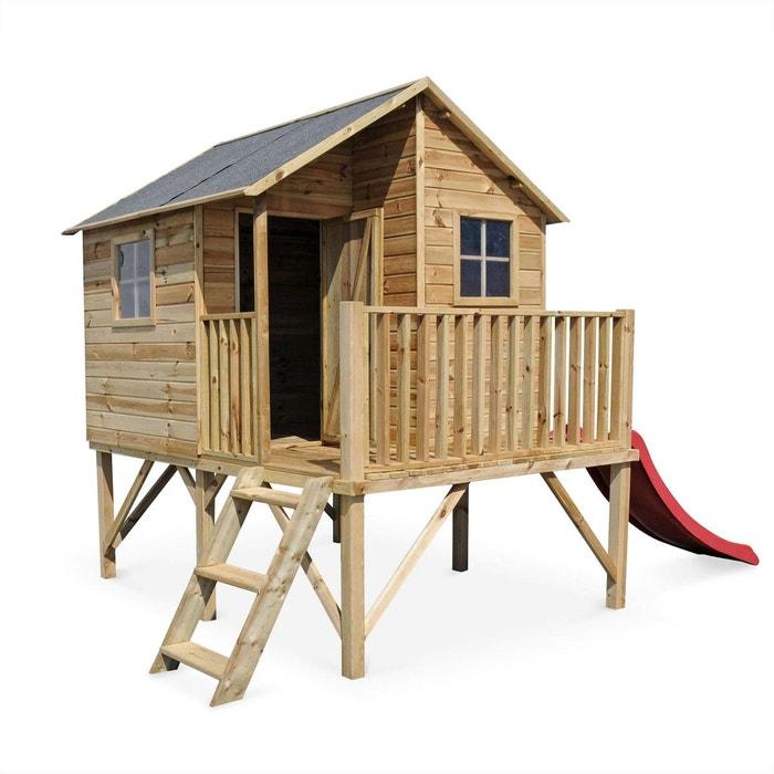 maisonnette avec toboggan en bois fsc de 3 8m orchid e. Black Bedroom Furniture Sets. Home Design Ideas