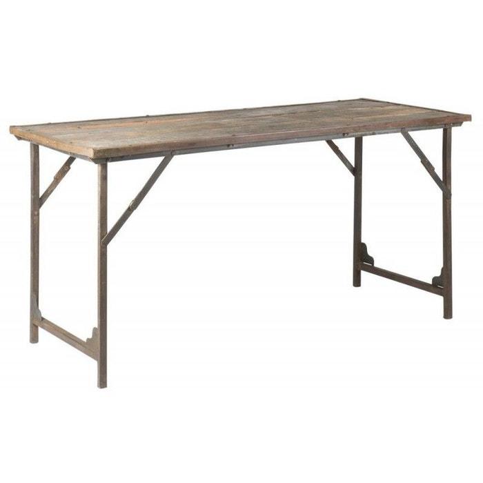 Table manger rustique bois recycl unique multicolore ib - Table de salle a manger en bois ...