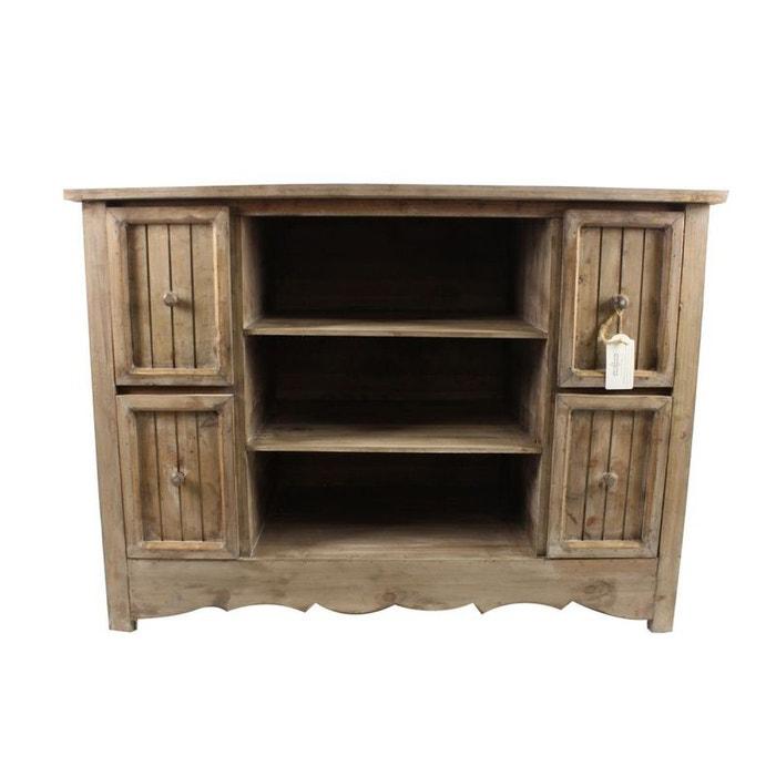 meuble bas rangement bois 4 tiroirs 102x45x75cm marron decoration d autrefois la redoute. Black Bedroom Furniture Sets. Home Design Ideas