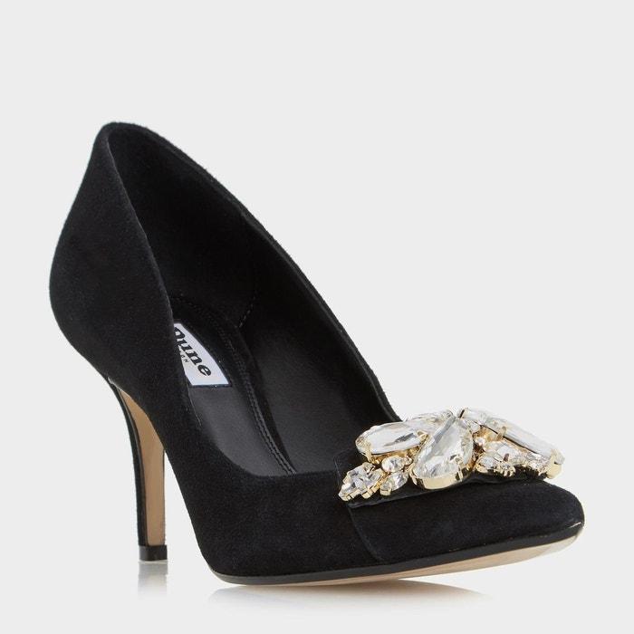 Escarpins ornés d'une broche à fleur - bironn  noir daim Dune London  La Redoute