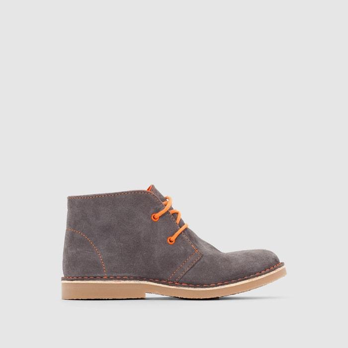 Image Boots croûte de cuir à lacets colorés R essentiel