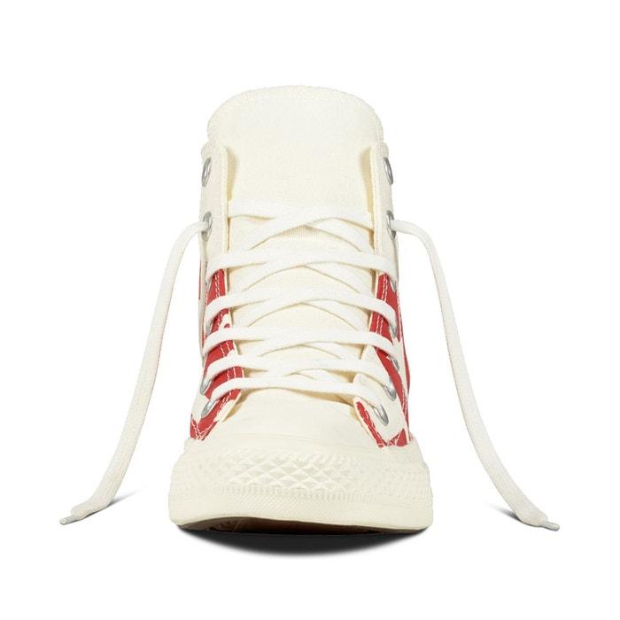 Baskets montantes ctas hi wordmark blanc/rouge Converse