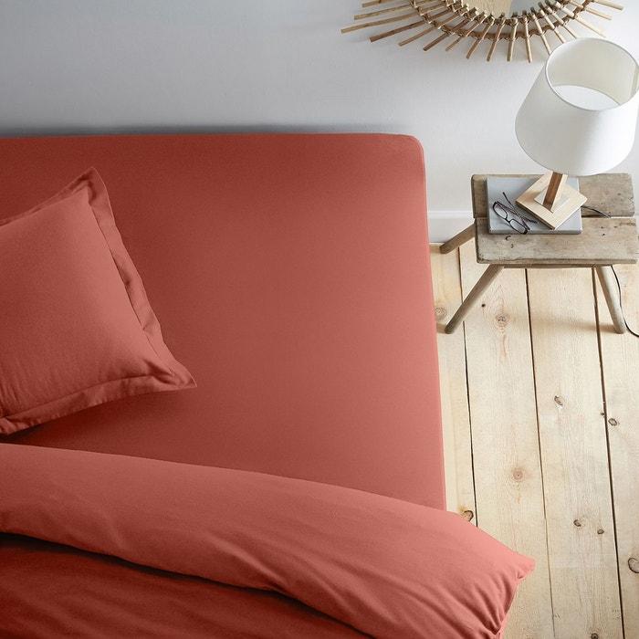 drap housse uni en flanelle orange cuit scenario la redoute. Black Bedroom Furniture Sets. Home Design Ideas
