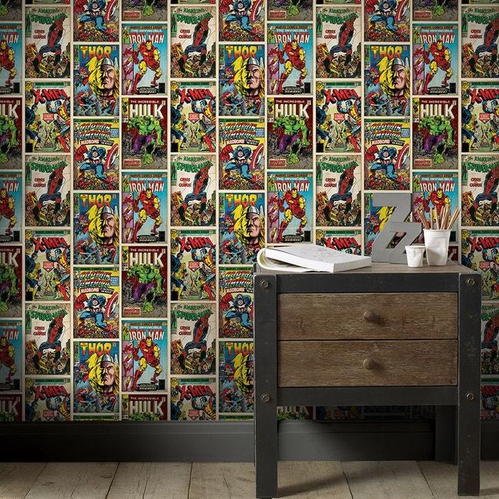 papier peint marvel action heroes black blue red pink green graham et brown la redoute. Black Bedroom Furniture Sets. Home Design Ideas