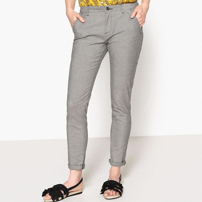 Pantalon chino sandy fancy noir blanc Reiko   La Redoute 9c5ea1f35345