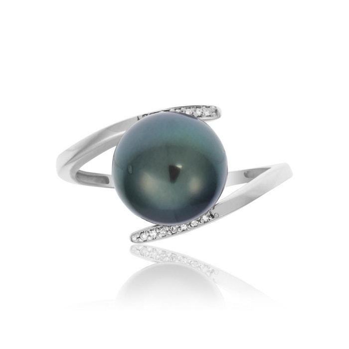 Bague or 375/1000 perle gris Cleor | La Redoute La Sortie Meilleure Gros PBfKl