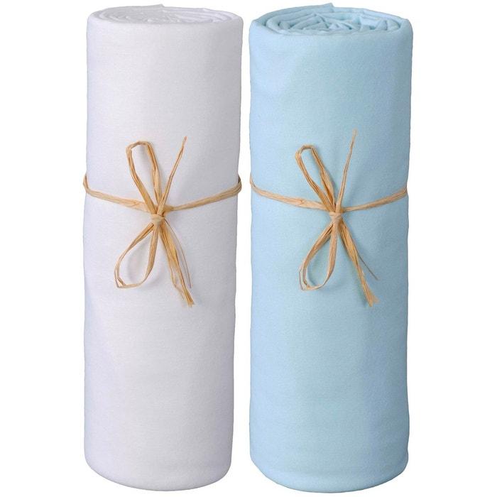 lot de deux draps housse p 39 tit basile jersey bio 70x140 cm blanc bleu couleur unique p tit. Black Bedroom Furniture Sets. Home Design Ideas