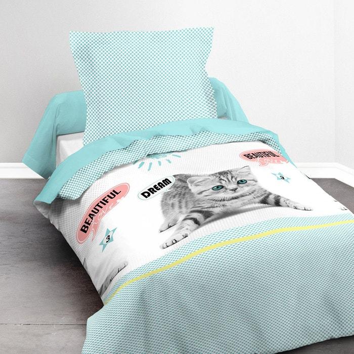parure de lit enfant sunny cat lot housse de couette taie d 39 oreiller classique bleu i fil home. Black Bedroom Furniture Sets. Home Design Ideas