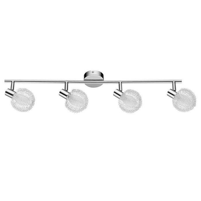 tania barre de 4 spots blanc et chrome l68cm spot. Black Bedroom Furniture Sets. Home Design Ideas