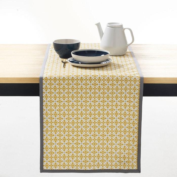 Chemin de table imprimé, Azilia, coloris jaune