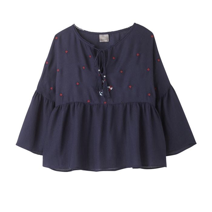 afbeelding Effen blouse met ronde hals en lange mouwen VERO MODA