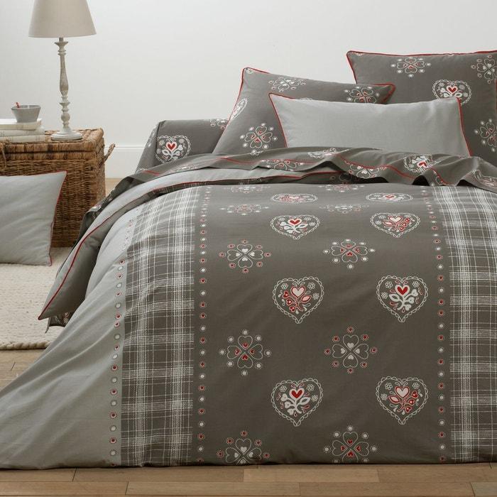 housse de couette coton saint leris gris rouge beige la redoute interieurs la redoute. Black Bedroom Furniture Sets. Home Design Ideas