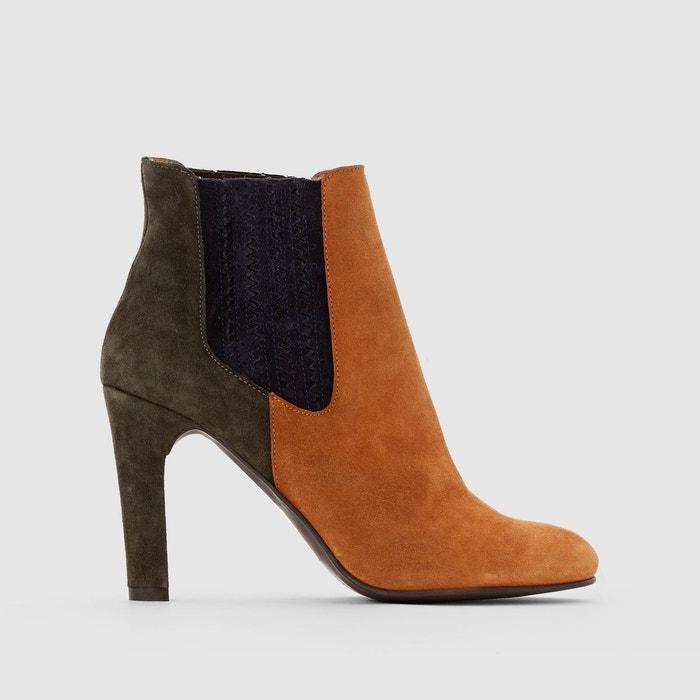 boots cuir talon haut camel mademoiselle r la redoute. Black Bedroom Furniture Sets. Home Design Ideas