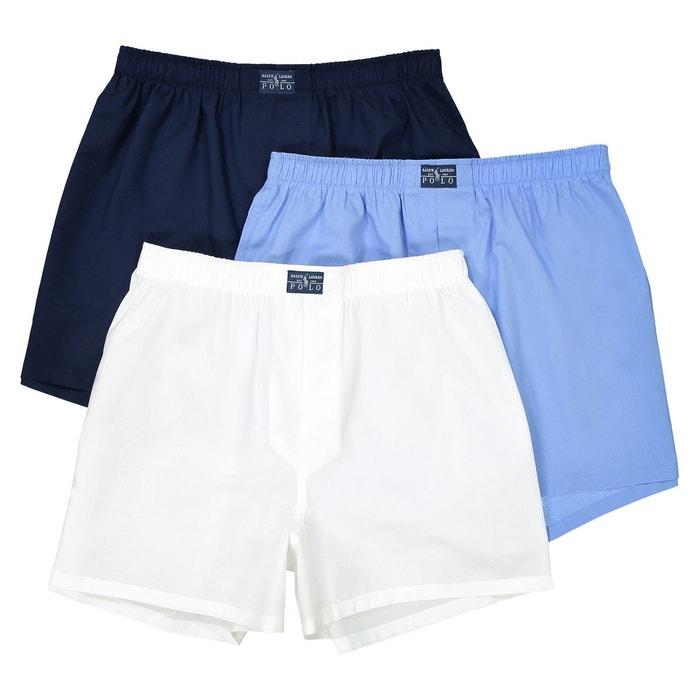 Caleçon en popeline pur coton, uni, lot de 3 blanc   bleu marine Polo Ralph  Lauren   La Redoute bff10027bb5