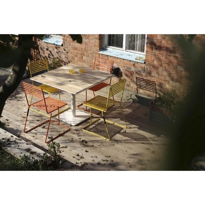 Table de jardin TINA EGOE carrée 100 cm métal acier blanc et bois massif  acacia