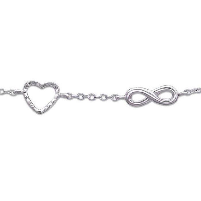 Bracelet chaîne longueur réglable  18 à 20 cm coeur symbole infini argent  925 So Chic Bijoux   La Redoute 0cb0ae0bb22e